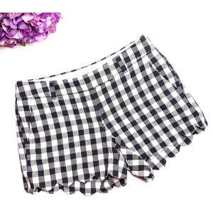 J CREW Black Gingham Scalloped Linen Blend Shorts